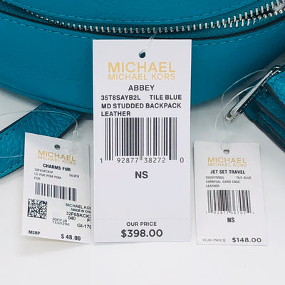3PCS Michael Kors Abbey Stud Backpack Wallet Charm