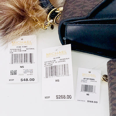 3PCS Michael Kors Sloan Satchel Wallet Charms