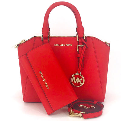 2PCS Michael Kors Ciara Medium Satchel Wallet Set