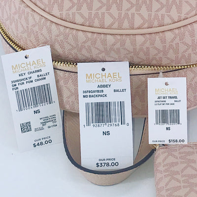 3PCS Michael Kors Abbey MD Backpack Wallet Charms