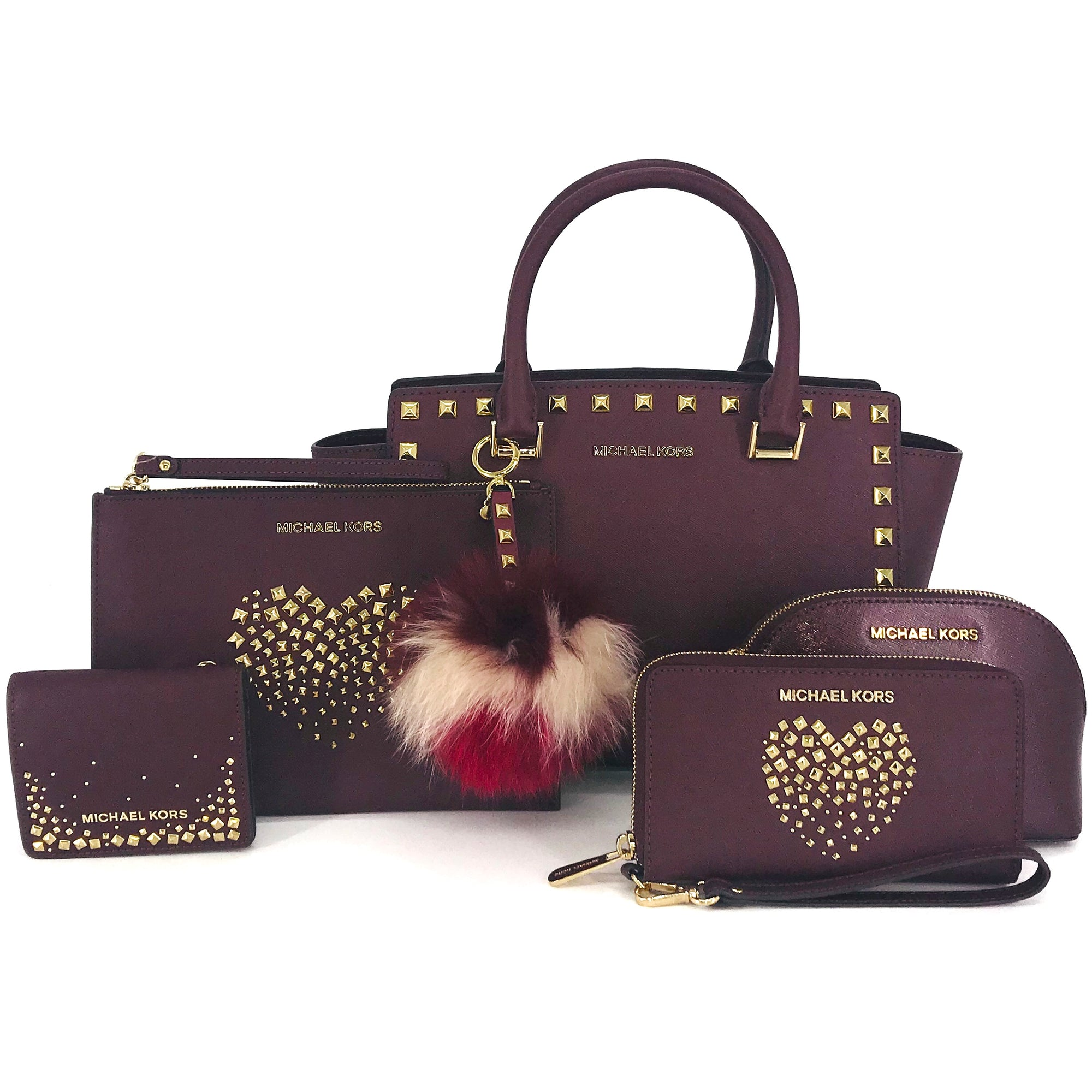 6PCS Michael Kors Merlot Love Studded Collection