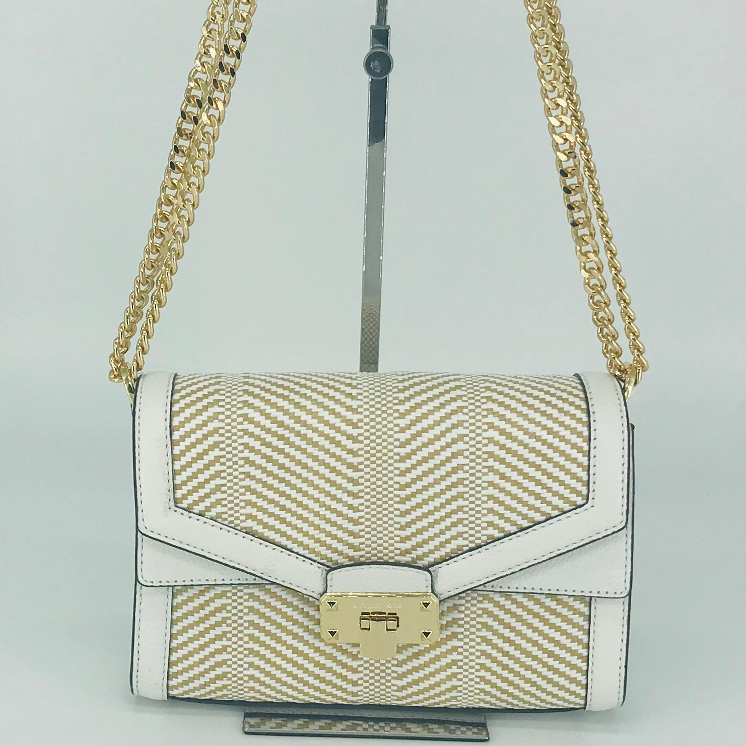 Michael Kors Kinsley Weaved Shoulder Flap Bag