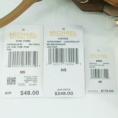 3PCS Michael Kors Hayes MD Messenger Wallet Charms