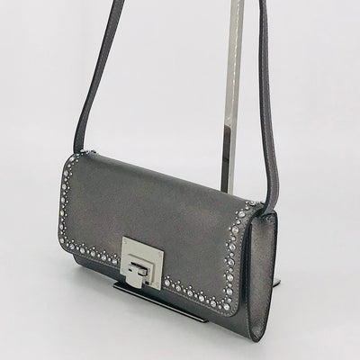 Michael Kors Tina Clutch Jeweled Dark Silver