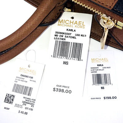 3PCS Michael Kors Karla EW Satchel Wallet Charms