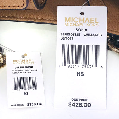 3PCS Michael Kors Sofia Large Tote Wallet Charms