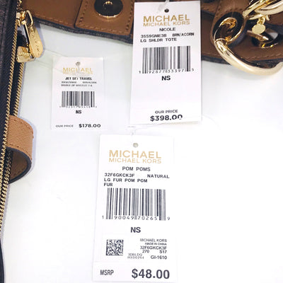 3PCS Michael Kors Nicole Tote Wallet Charms