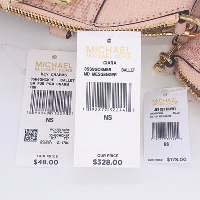 3PCS Michael Kors Ciara MD Satchel Wallet Charms
