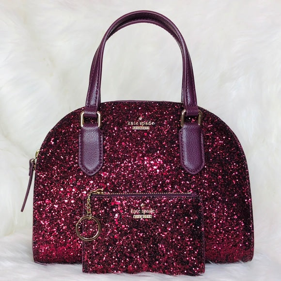 Kate Spade Mini Reiley Glitter Satchel Wallet Set