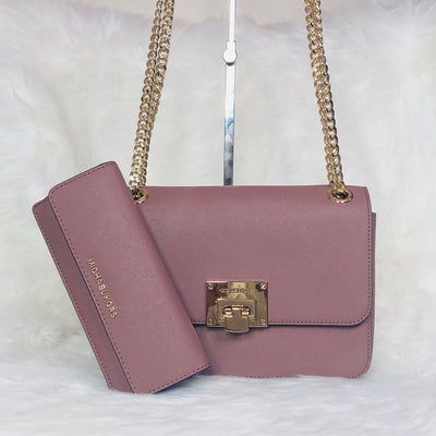 Michael Kors Tina MD Shoulder Flap Bag Wallet Set