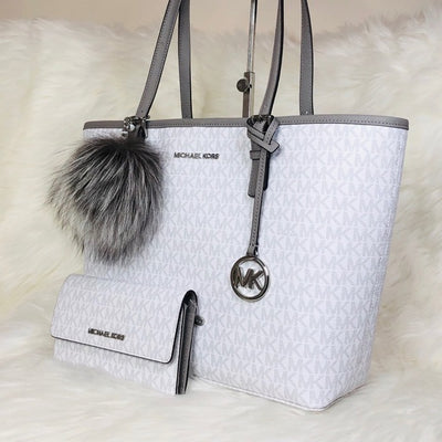3PCS Michael Kors MD Carryall Tote Wallet Charms