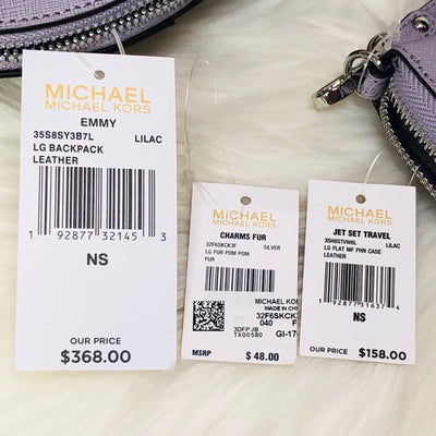 3PCS Michael Kors Emmy Backpack Wallet Charms