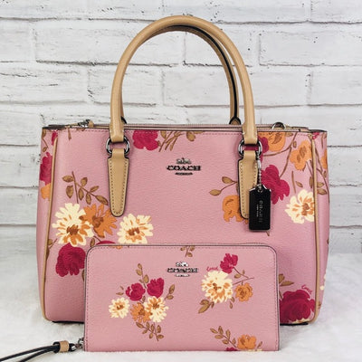 2PCS Coach Surrey Floral Carryall Bag Wallet Set    NWT