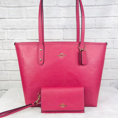 2PCS Coach City Zip Top Tote Wallet Set