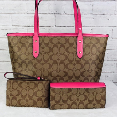 3PCS Coach City Zip Top Tote Wallet Wristlet Set