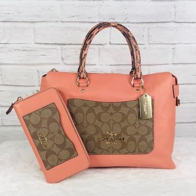 2PCS Coach MX Emma Satchel Wallet Set