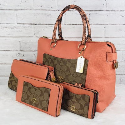4PCS Coach MX Emma Satchel Wallet Clutch Coin Set