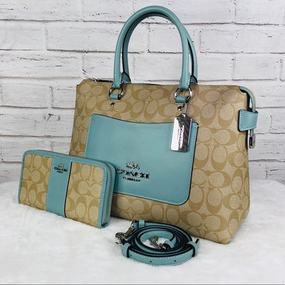 2PCS Coach Signature Emma Satchel Wallet Set
