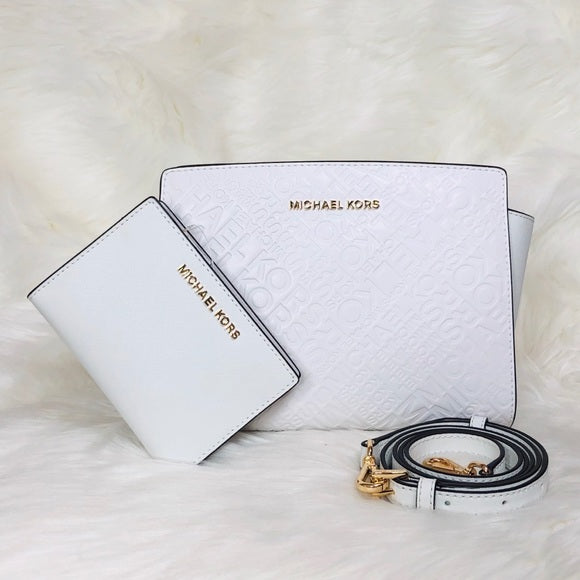 2PCS Michael Kors Selma Messenger Bag Wallet Set