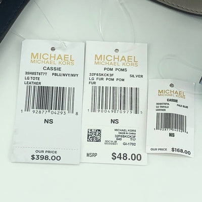 3PCS Michael Kors Cassie Large Tote Wallet Charms