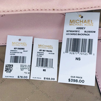 3PCS Michael Kors Abbey LG Cargo Backpack Wallet