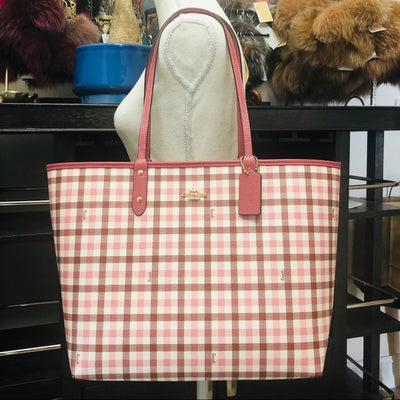 3PCS Coach Gingham City Tote Wallet Wristlet Set