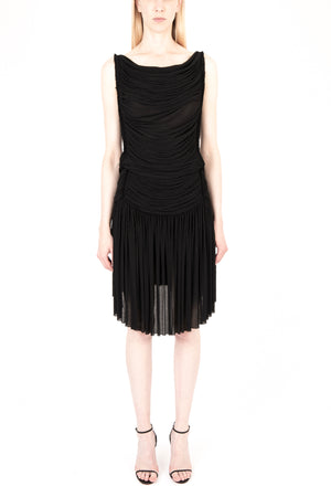 Open Back Pleated Jersey Dress