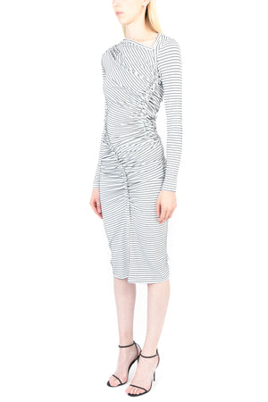 Jersey Jacquard Ruched Dress