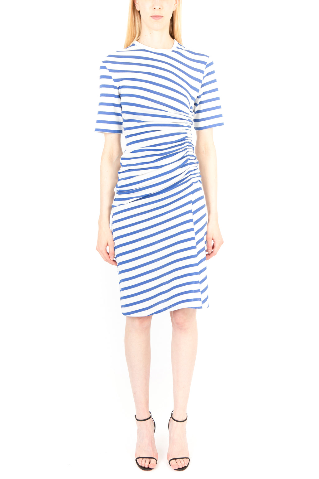 Striped Gathered T-shirt Dress