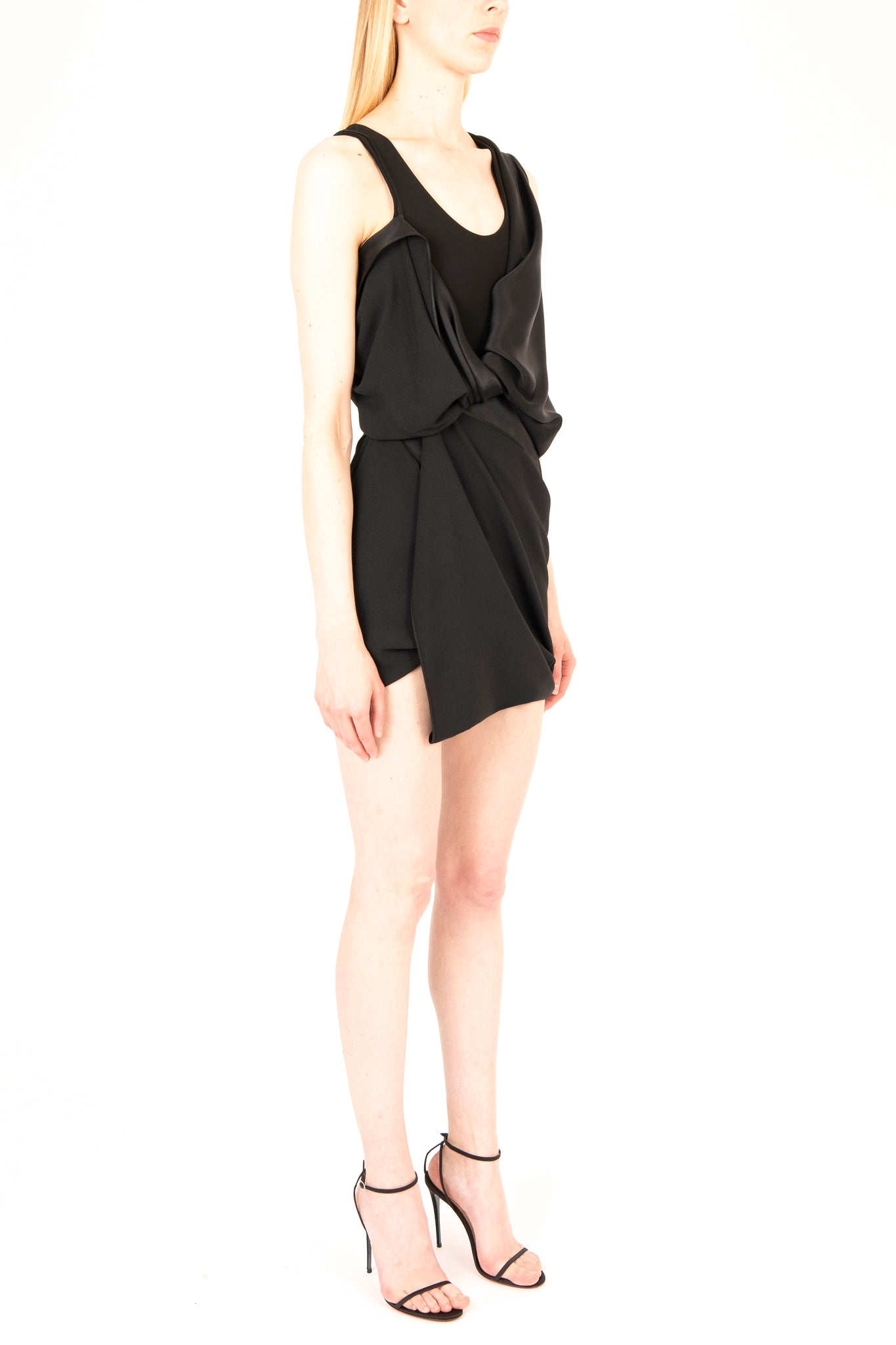 Draped Satin & Milano Mini Dress - Exclusive