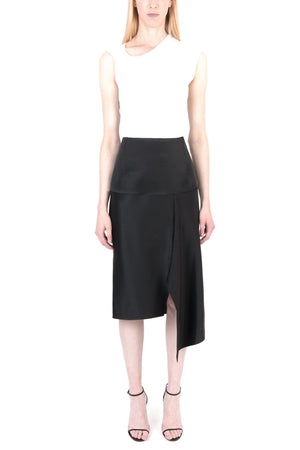 Panelled Draped Satin Skirt