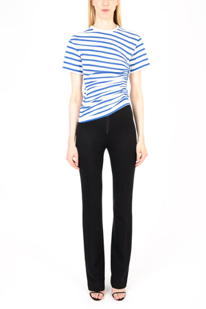 Striped Gathered Short Sleeve T-shirt