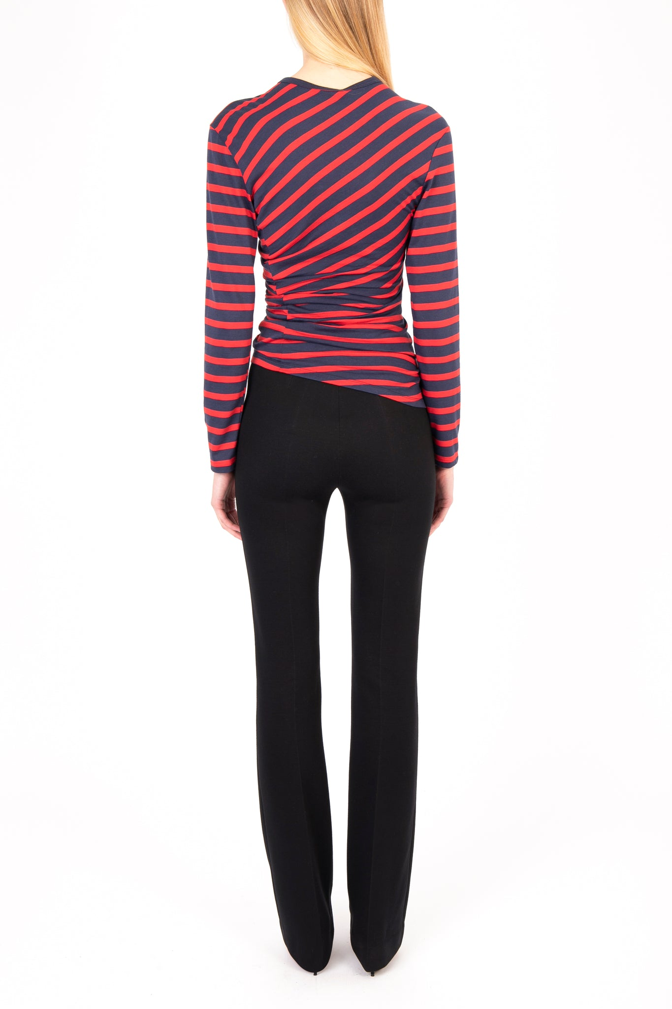 Striped Gathered Long Sleeve T-shirt