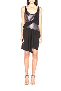 Mixed Jersey Draped Dress