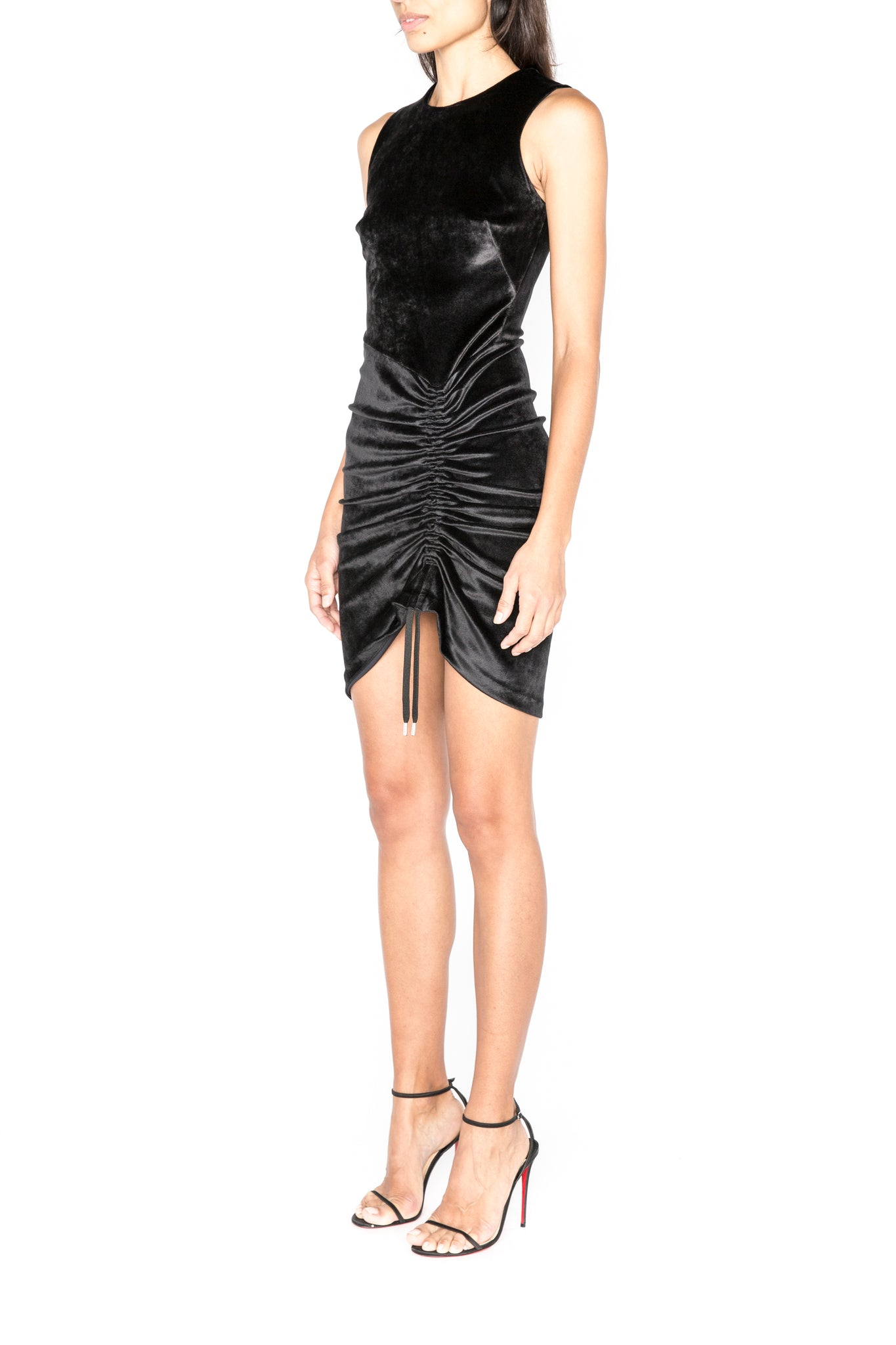 Ruched mini dress in bonded velvet