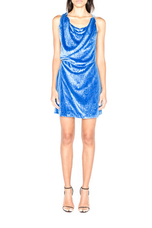 Draped Embossed Velvet Mini Dress