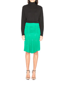 Crystal embellished hyper-ruched skirt