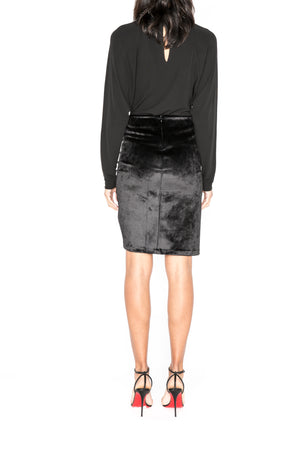 Bonded Velvet Ruched Skirt