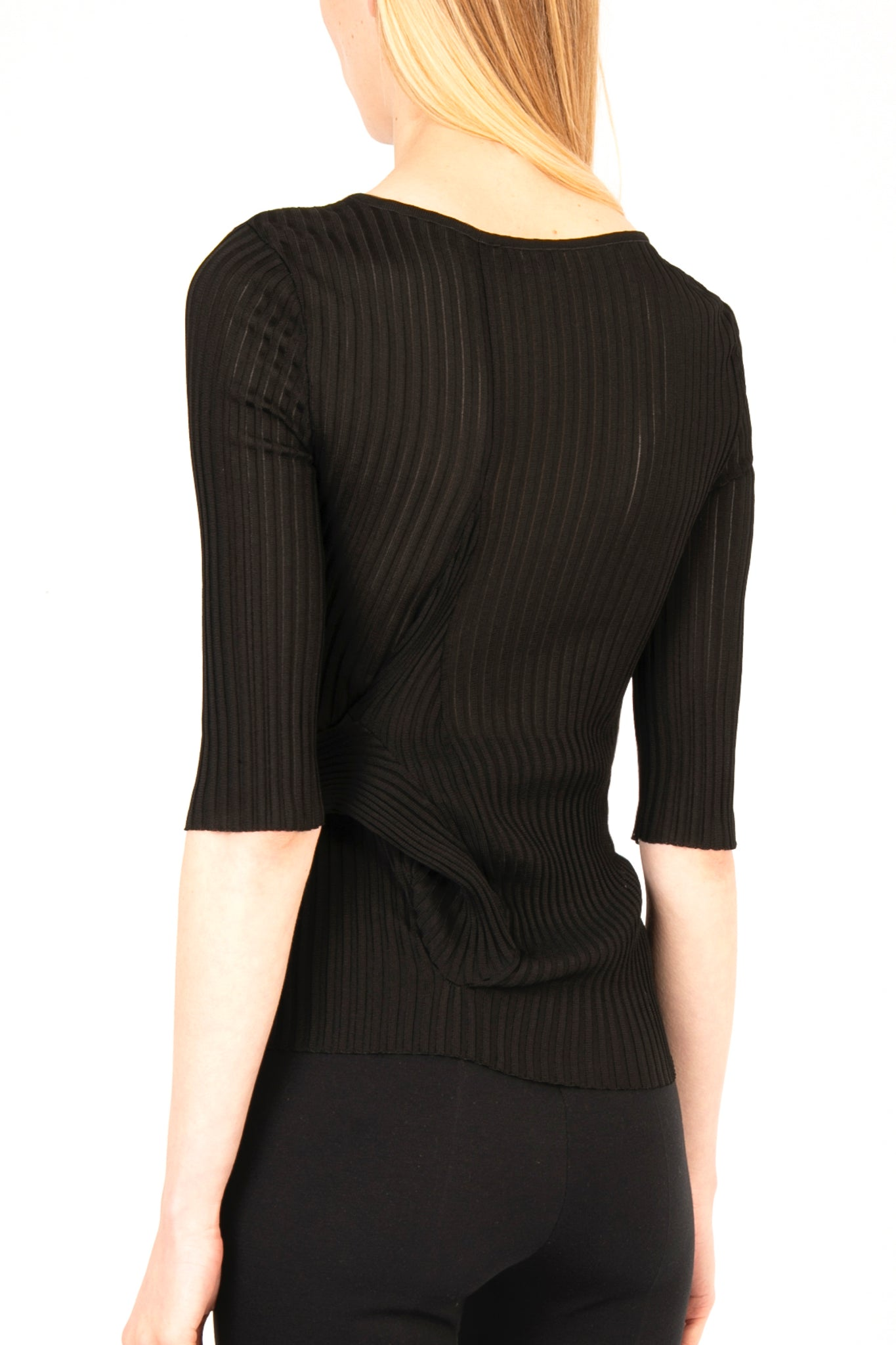 Ribbed Viscose Knit Top