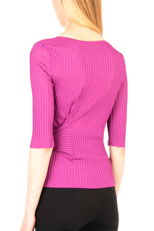 Ribbed Viscose Knit Top - Exclusive