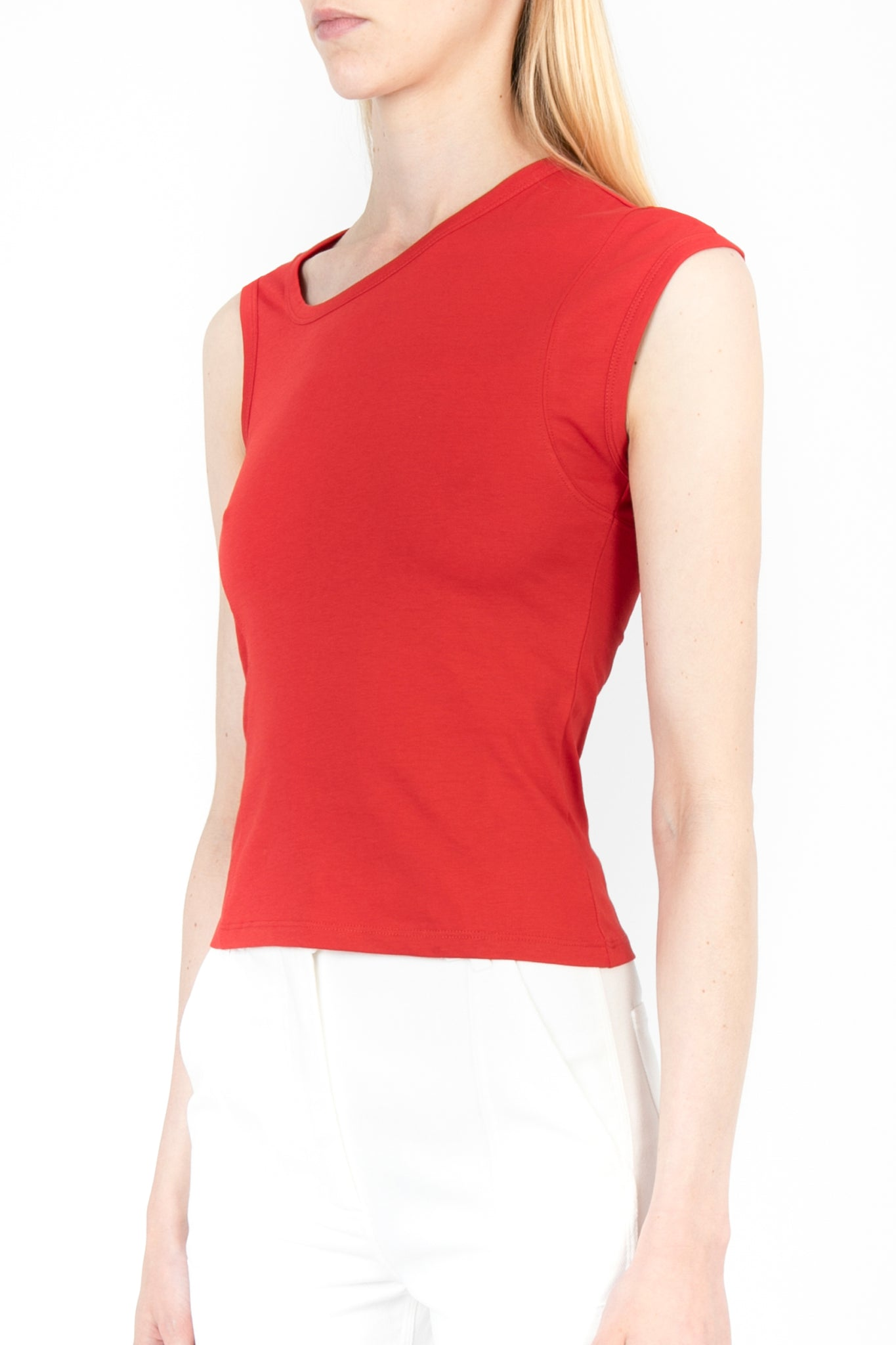 Asymmetric Sleeveless Cotton Top - Exclusive
