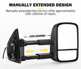 Pair Towing Extendable Side Mirrors for Holden Colorado 2012 - ON - SA LED Lighting & Accessories
