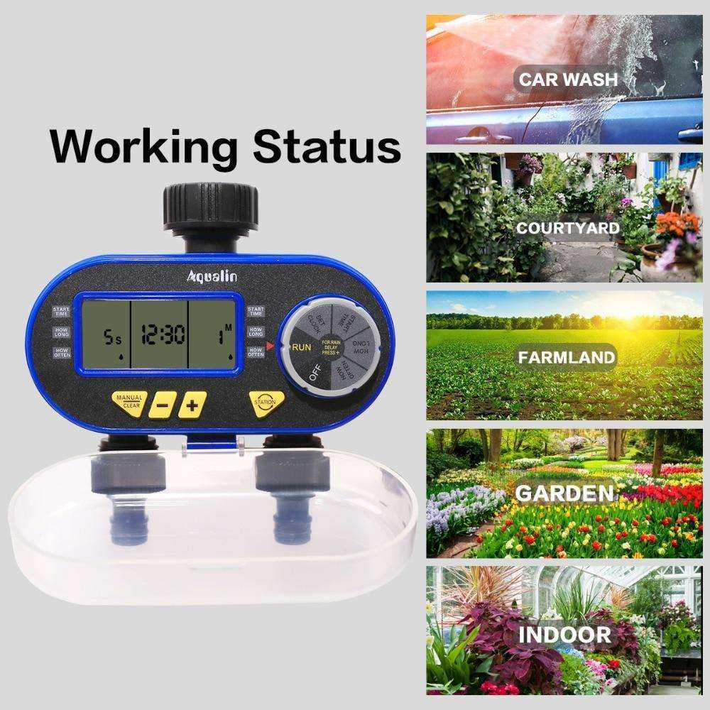 New Arrival Two Outlet Garden Digital Electronic Water Timer Solenoid Valve Garden Irrigation Controller for Garden