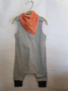 HAARREM ROMPER DROPPED CROTCH - GREY MELANGE