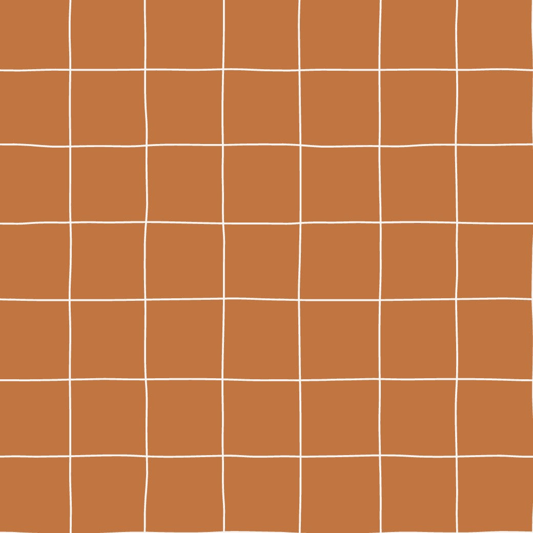 FABRIC BY THE METRE  - RUST GRID