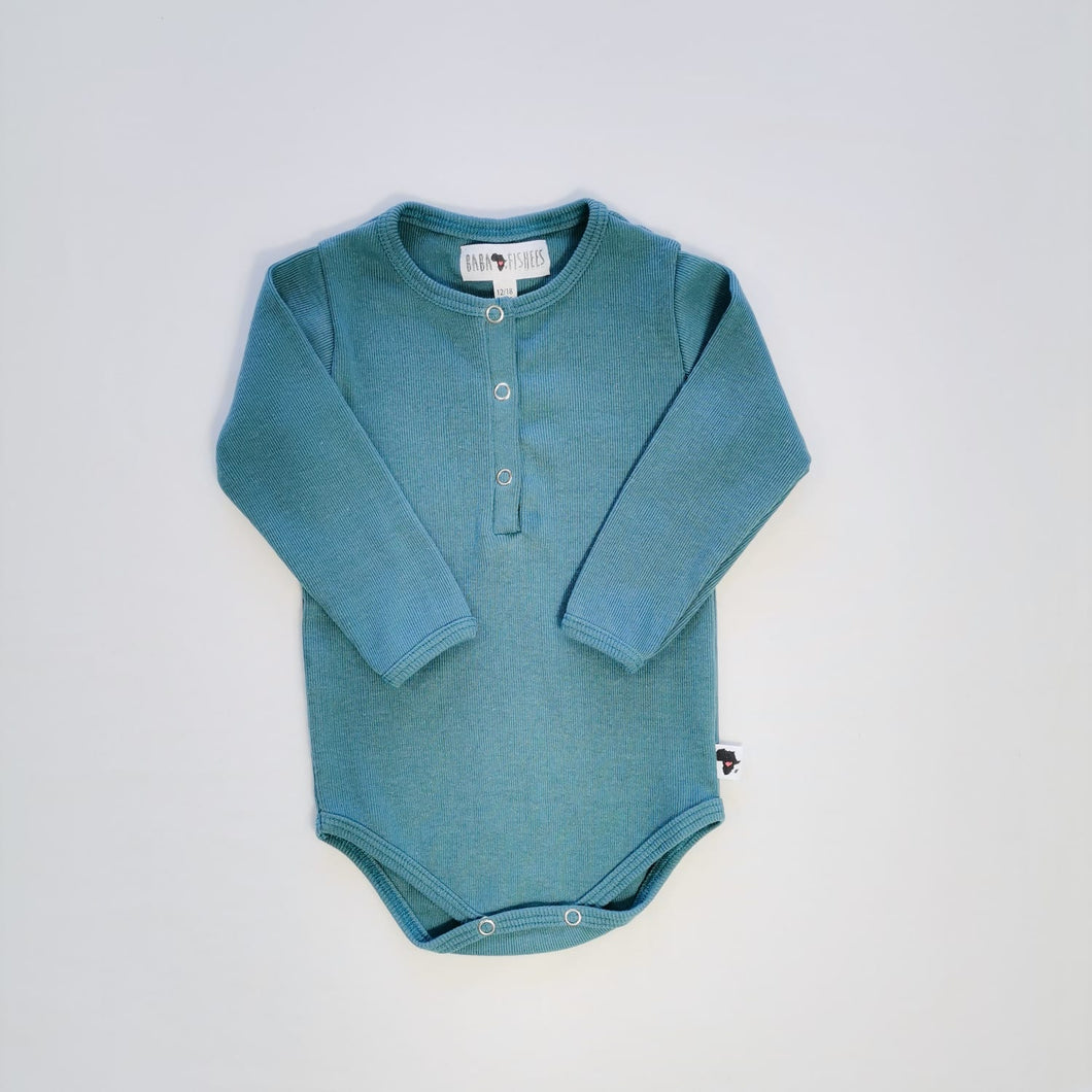 HENLY CLASSIC ONESIE - RIBBED BLUE LS
