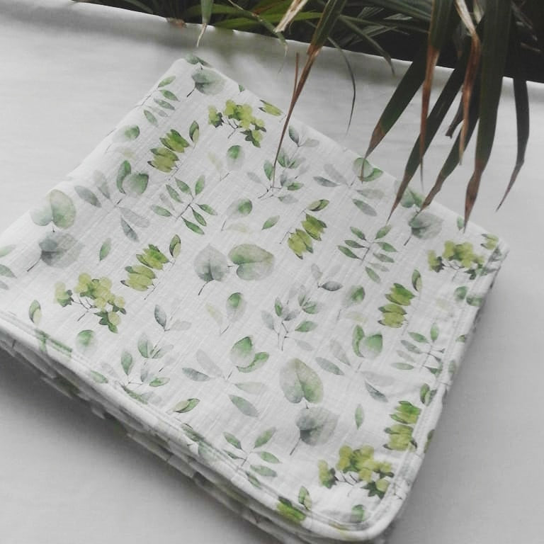 SWADDLE BLANKET -  WATERCOLOUR LEAF AW19