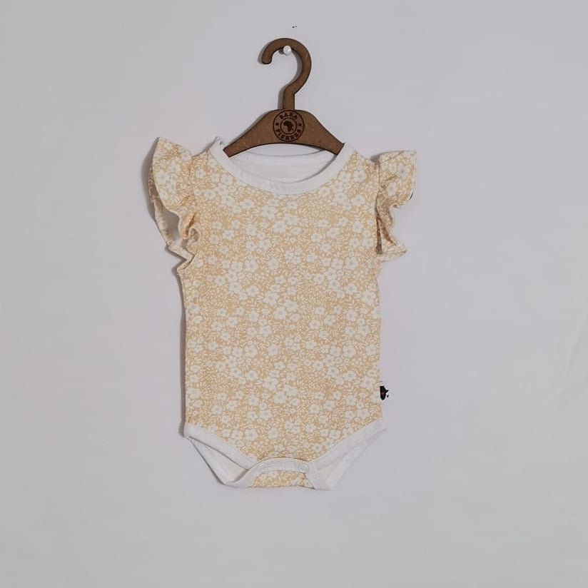 RUFFLE SLEEVE ONESIE  - YELLOW DITSY  FLOWERS S/S