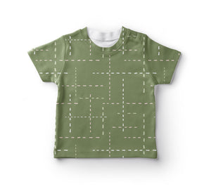 TEE SHIRT UNISEX -   GREEN WITH DASHED LINES SS19/20