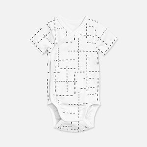 WRAP ONESIE  .. WHITE WITH DASHED LINES
